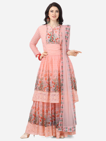 Designer Peach Faux Georgette Digital Printed Anarkali Suit