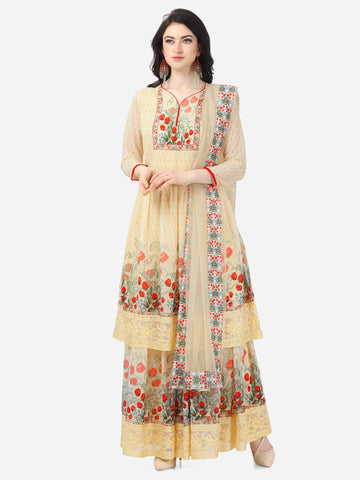 Designer Yellow Faux Georgette Digital Printed Anarkali Suit