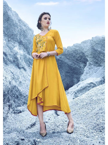 Beautiful  Yellow Color Embroidered Rayon Kurtis