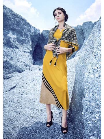 Beautiful  Yellow & Black Color Embroidered Rayon Kurtis