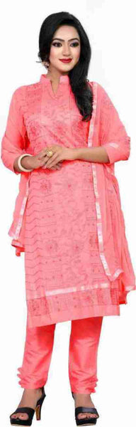 Pink Cotton Embroidered Straight Cut Suit