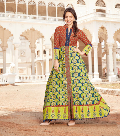Multicolor Loan Cotton Printed Anarkali Kurti