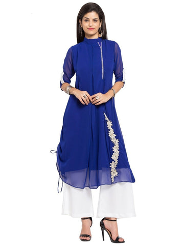 Designer Blue Georgette Embroidered A line Kurta