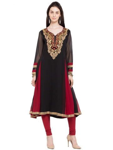 Designer Black Georgette Embroidered A Line Kurta