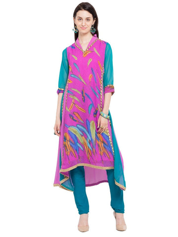 Designer Purple Georgette Printed Straight Kurta