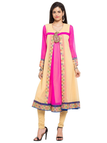 Designer Yellow Georgette Embroidered Straight Kurta