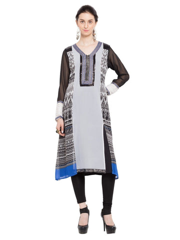 Designer White Georgette Plain Straight Kurta