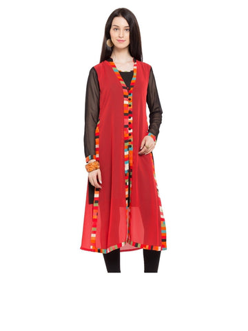 Designer Red Georgette Plain Straight Kurta