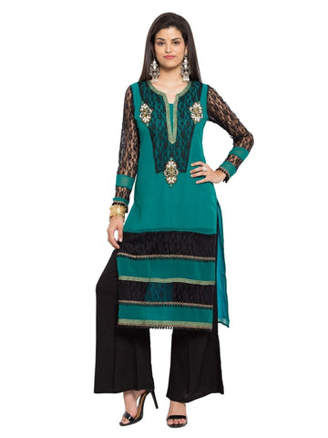 Designer Green Georgette Embroidered Straight Kurta