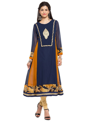Designer Blue Georgette Embroidered Kurta