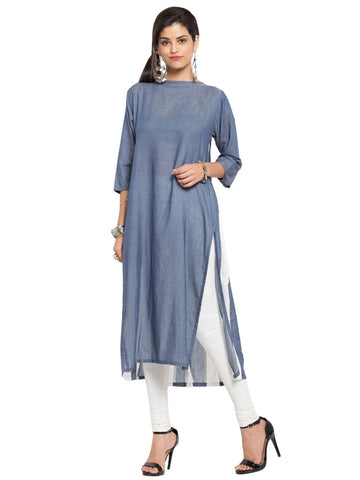 Designer Blue Cotton Plain Straight Kurta