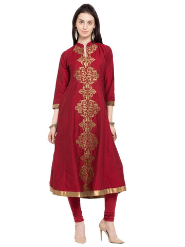 Designer Red Cotton Embroidered Straight Kurta