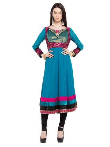 Designer Blue Georgette Embroidered Straight Kurta