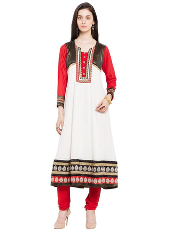 Designer White Cotton A Line Kurta