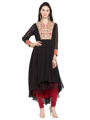 Designer Black Georgette Embroidered Straight Kurta