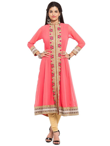Designer Pink Georgette Embroidered Straight Kurta