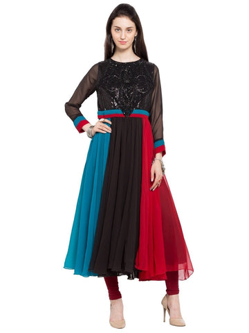Designer Black Georgette Embroidered Anarkali Kurta