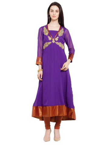 Designer Purple Georgette Embroidered Straight Kurta