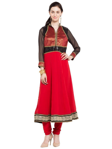 Designer Red Georgette Plain Anarkali Kurta