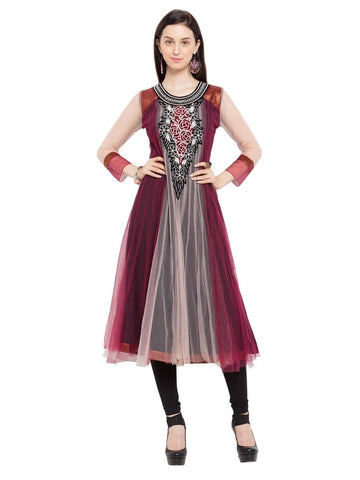 Designer Purple Georgette Embroidered Anarkali Kurta
