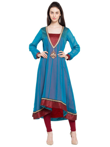 Designer Blue Georgette Embroidered Anarkali Kurta