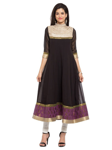 Designer Black Georgette Plain Anarkali Kurta