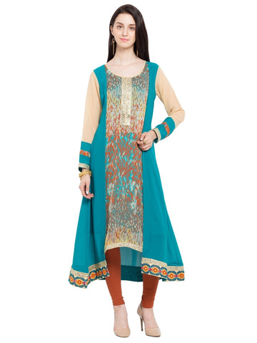 Designer Georgette Blue Double Layered Kurti