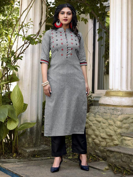 Grey Pure Cotton Embroidery Hand Worked Kurti with Pant