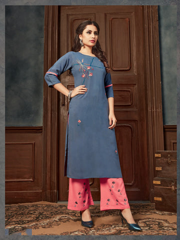 Blue Rayon Embroidered Kurti with Palazzo