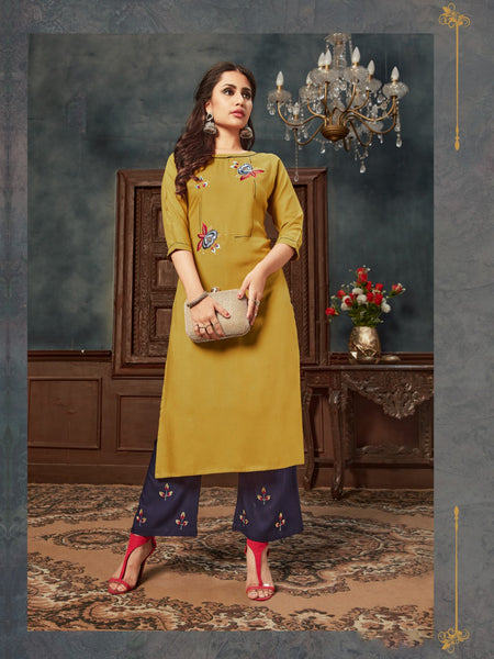 Mustard Rayon Embroidered Kurti with Palazzo