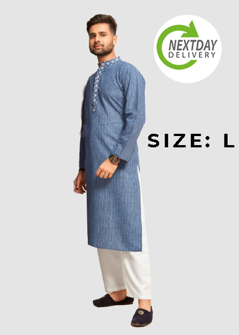 Blue Cotton Ethnic Kurta