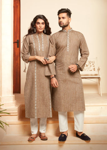 Beige  Cotton Embroidered Kurti with Pants -Couple Combo