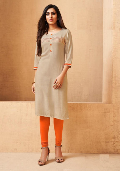 Beige Soft Rayon Straight Cut Kurti