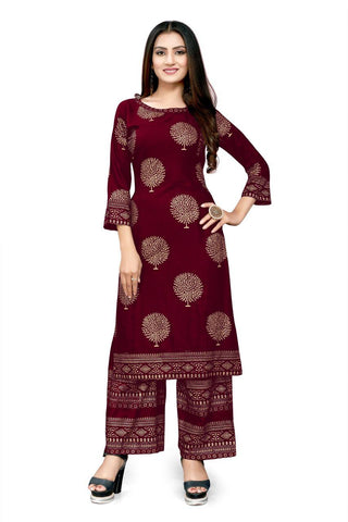 Maroon Heavy Rayon Gold Foil Printed Kurti with Palazzo