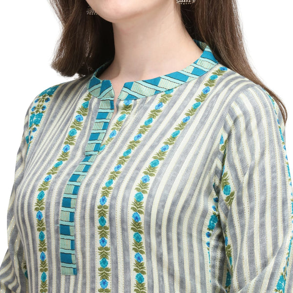 Pure Viscose Cotton Linen Striped Kurti With Palazzo