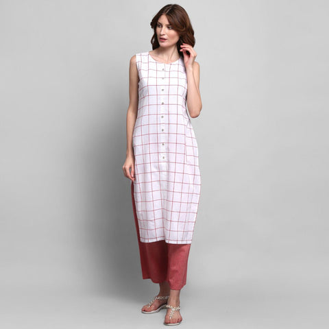 White Color Cotton Kurti with Palazzo