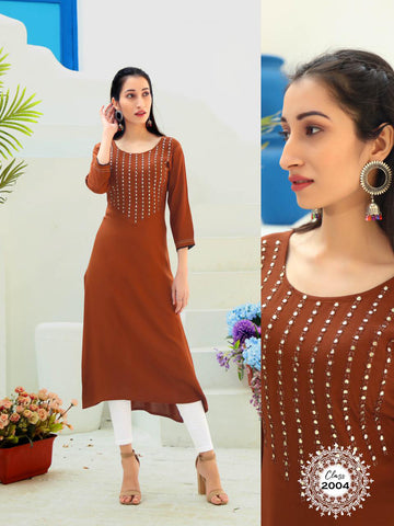 Brown Heavy Rayon Embroidered Straight Cut Kurti
