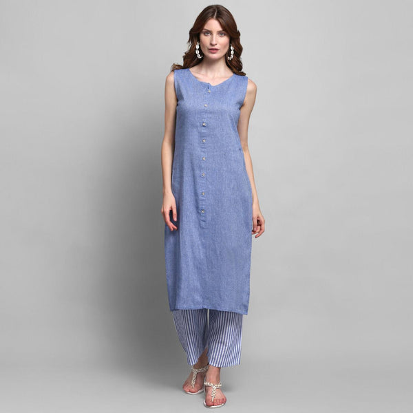 Blue Color Cotton Kurti with Palazzo