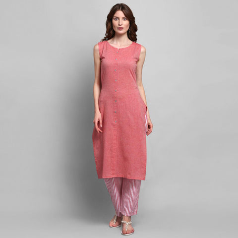 Mauve Color Cotton Kurti with Palazzo