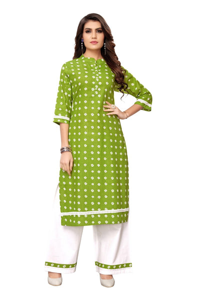 Green Pure Cotton Bandhani Printed Kurti with Palazzo
