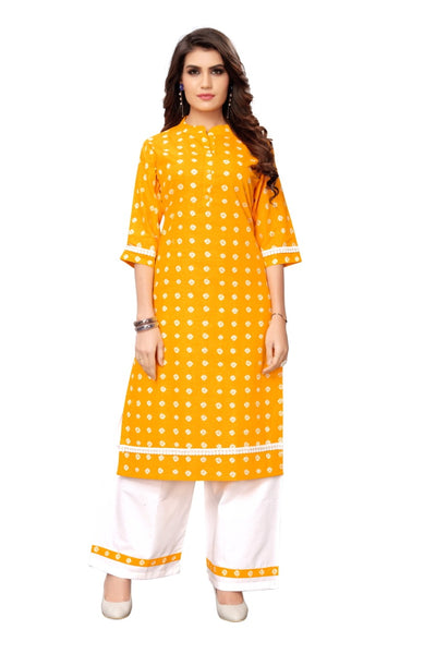 Mustard Pure Cotton Bandhani Printed Kurti with Palazzo