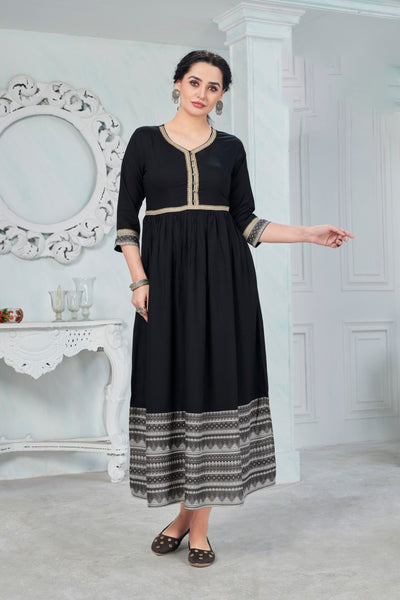 Black and Grey Rayon Printed Anarkali Kurti