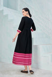 Black and Pink Rayon Printed Anarkali Kurti