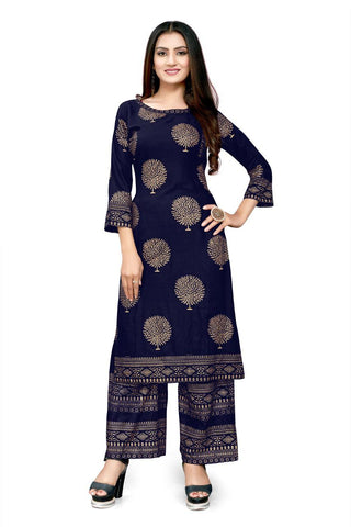 Blue Heavy Rayon Gold Foil Printed Kurti with Palazzo