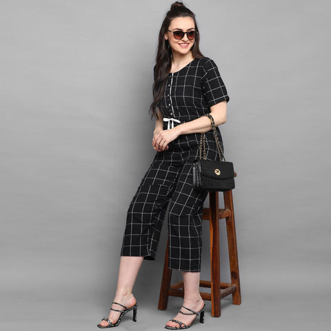 Black checkered Cotton Jumpsuit