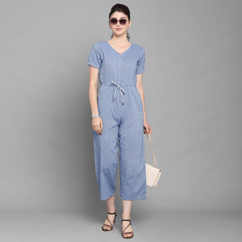 Blue Solid Cotton Jumpsuit