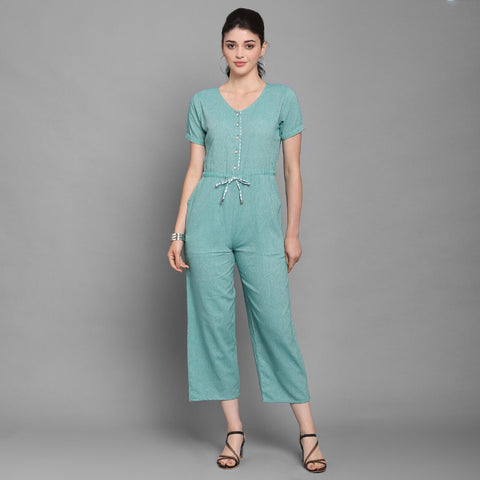 Sea Green Solid Cotton Jumpsuit