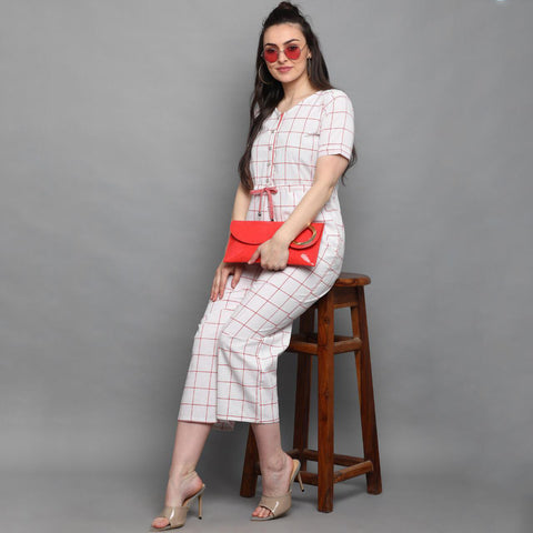 White Checkered Cotton Jumpsuit