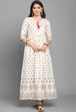 White Rubi Cotton Foil Printed Gown