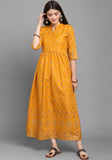 Mustard Rubi Cotton Foil Printed Gown